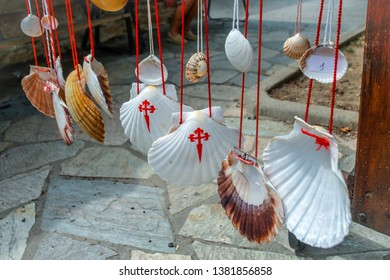 Scallop Shell, symbol of Camino de Santiago Walking path in Europe. Famous Camino de Santiago walking road and street. Pilgrims ways. The Way of Saint James pilgrimage