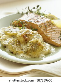 Scalloped potatoes with salmon dinner