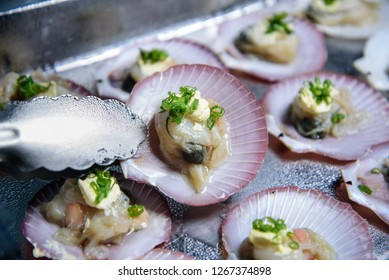 Scallops with cheese in the fresh market