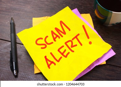 Scam Alert, Internet Fraudulent quotes, words typography top view lettering concept