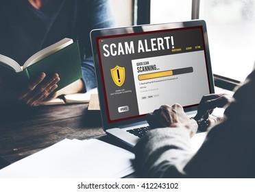 Scam Alert Notification Laptop Concept