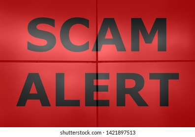 Scam alert text on red background.