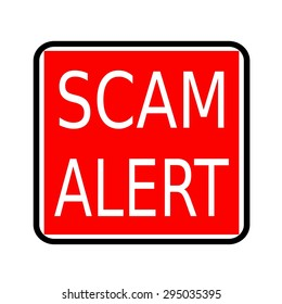 SCAM alert white stamp text on red background