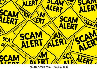 Scam Alert written on multiple road sign