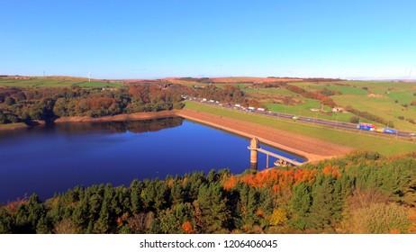 Scammonden Water Reservoir by the M62 Motorway in West Yorkshire, England