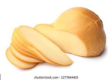 Scamorza Italian cow's milk cheese on white background