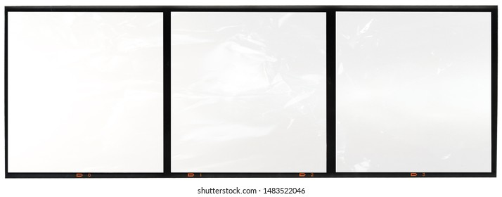 scan of original and real medium format film border with empty 6x6 frames or film cells, large format film material 120mm type
