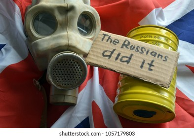 The scandal about poisoning of former spy Sergei Skripal. Concept. British Flag background.March 29, 2018 in Kiev,Ukraine