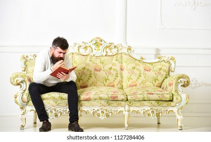 Scandalous bestseller concept. Guy reading book with attention. Macho on concentrated face reading book. Man with beard and mustache sits on baroque style sofa, holds book, white wall background.