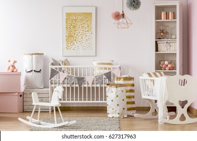 Exceptionnel Scandi Style Baby Room With White Cot, Cradle, Rocking Horse