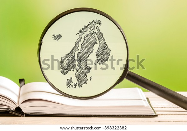 Scandinavia information with a pencil drawing of a scandinavian map in a magnifying glass