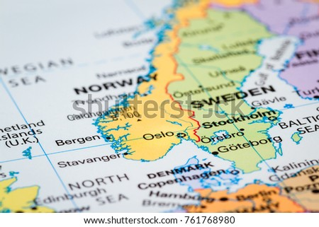 Scandinavia On World Map Oslo Norway Stockfoto (Jetzt bearbeiten ...