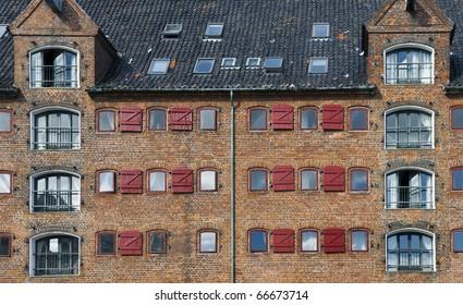 Scandinavian architecture - red old building in Copenhagen, Denmark