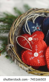 Scandinavian Christmas hearts in a basket