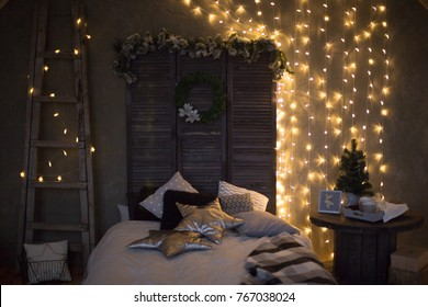 Scandinavian christmas interiors lights bed grey cosy christmas