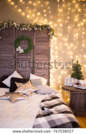 scandinavian christmas interiors lights bed grey cosy christmas