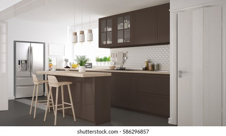 Scandinavian classic kitchen with wooden and brown details, minimalistic interior design,  3d illustration