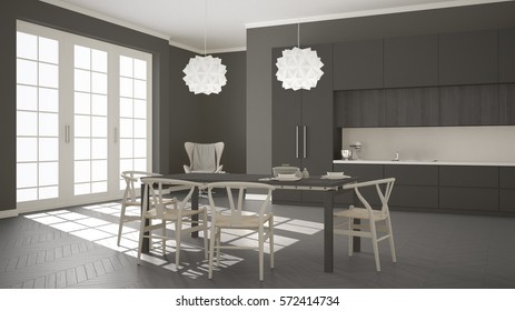 Scandinavian classic white kitchen with wooden and gray details, minimalistic and modern interior design, 3d illustration