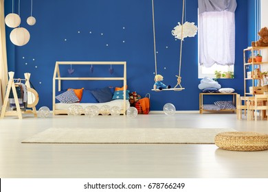 Scandinavian decorated original bedroom of young child