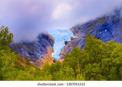 Scandinavian glacier, northern rocks, norwegian highlands