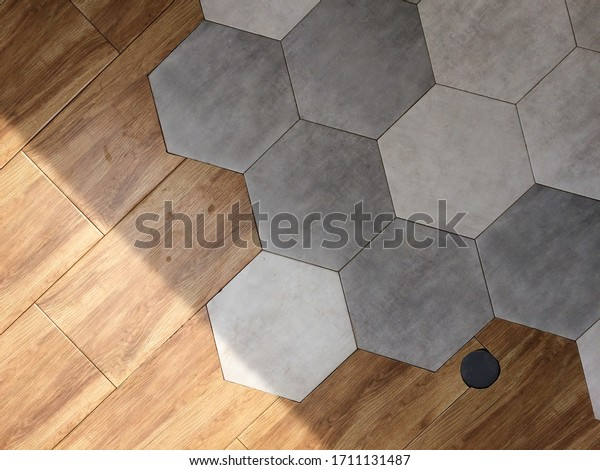 https www shutterstock com image photo scandinavian grey white hexagon tile mixed 1711131487