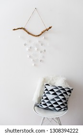 Scandinavian home interior decoration with white stars