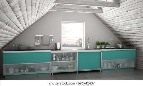 Scandinavian industrial kitchen, loft mezzanine, roof architecture white and turquoise interior design, 3d illustration
