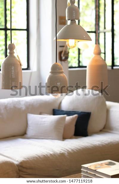 Scandinavian Interior Style Living Room Space Stock Photo