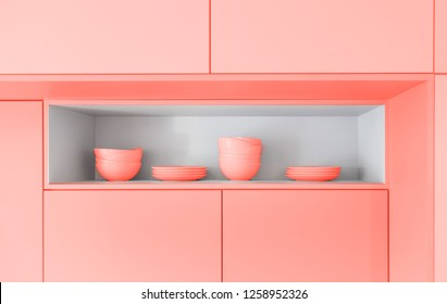 Scandinavian kitchen design. tableware. Color of the year 2019 living coral. banner