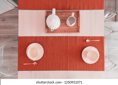 Scandinavian kitchen design. tableware in colors of the year 2019, living coral.