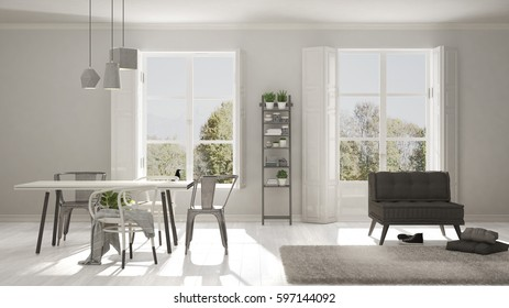 Scandinavian living room with big windows, garden panorama in background, minimalist white and gray interior design, 3d illustration