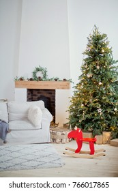 Scandinavian living room with Christmas decorations