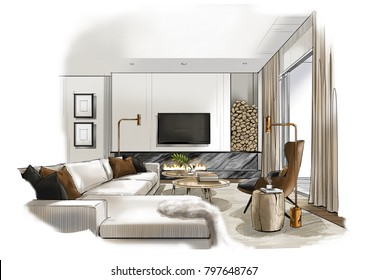 Scandinavian living room, illustration painting