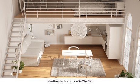 Scandinavian minimalist loft, one-room apartment with white kitchen, living and bedroom, top view, classic interior design, 3d illustration