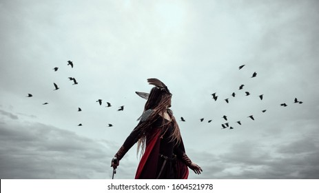 scandinavian red warrior woman Valkyrie