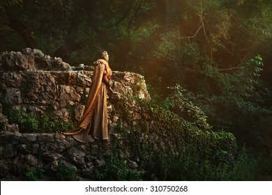 Scandinavian rich girl in deep forest.Medieval story