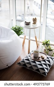 scandinavian style hipster interior, cozy loft room