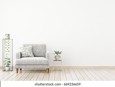 Scandinavian style interior wall mock up with gray velvet armchair, pillow and plants on white wall background. 3d rendering.