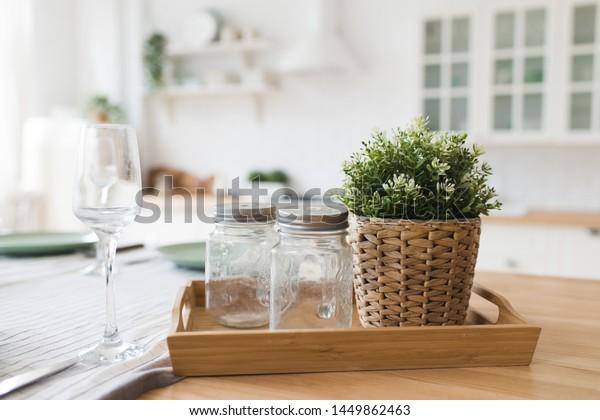 Scandinavian Style Kitchen Decor Elements Glass Stock Photo