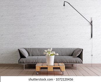 Scandinavian style livingroom with fabric sofa, lamp and plant in bucket on white empty wall background. 3d rendering.