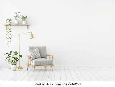 Scandinavian style livingroom with gray fabric armchair, golden lamp and plants on empty white wall background. 3d rendering.