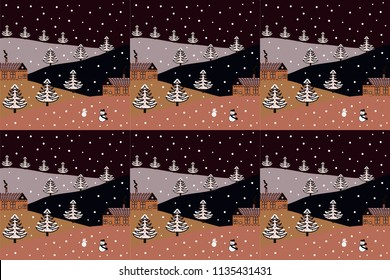 Scandinavian style nature illustration. Cute houses and trees on black, brown and beige colors background. Raster. Colorfil landscape for textile, wallpaper, fabric.