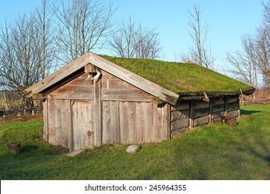 Scandinavian Viking House with blue skies in the background