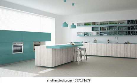 Scandinavian white kitchen with wooden and turquoise details, minimalistic interior design, 3d illustration