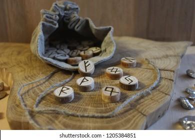 Scandinavian wooden handmade runes Elder Futhark
