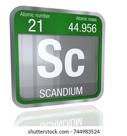 Scandium symbol  in square shape with metallic border and transparent background with reflection on the floor. 3D render. Element number 21 of the Periodic Table of the Elements - Chemistry