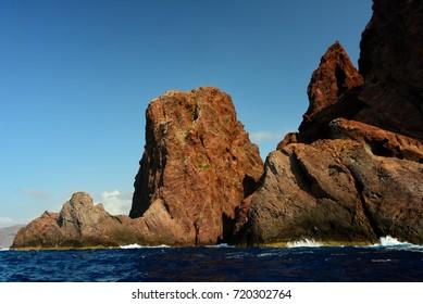 Scandola natural reserve in western coast of Corsica.