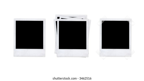 Scanned instant photos isolated on white background. Paste your individual images in there.