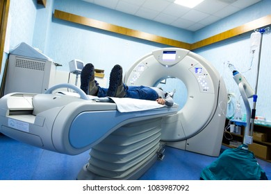 scanner in hospital laboratory. Health care, medical technology, hi-tech equipment and diagnosis concept