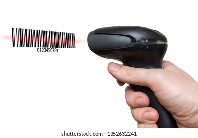 Scanning barcode with bar code reader isolated on white background.